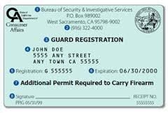 What are the requirements for registering as a Security Guard? The general requirements for a Security Guard are:  Be at least 18 years old Undergo a criminal history background check through the California Department of Justice (DOJ) and the Federal Bureau of Investigation (FBI); and Complete a 40-hour course of required training. The training and exam may be administered by any private patrol operator or by a certified training facility.