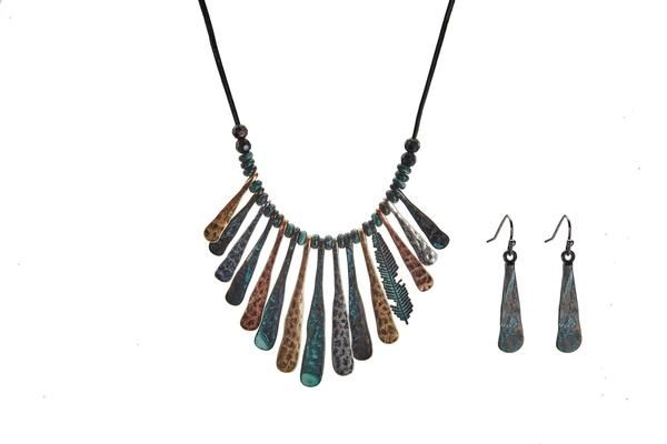 Feather Necklace + Earrings