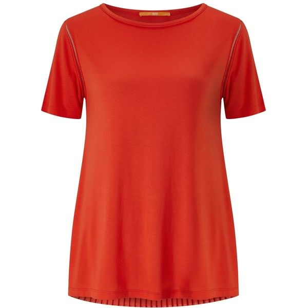 BOSS Orange Taplisse Pleat Detail Top, Bright Red (135 NZD) ❤ liked on Polyvore featuring tops, red short sleeve top, bright tops, print top, red top and mixed print top