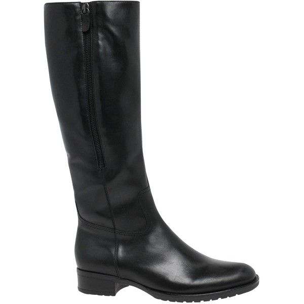 Gabor Louisa M Long Boots, Black Leather (€180) ❤ liked on Polyvore featuring shoes, boots, black leather knee high boots, long knee high boots, flat leather boots, knee high boots and flat knee high boots