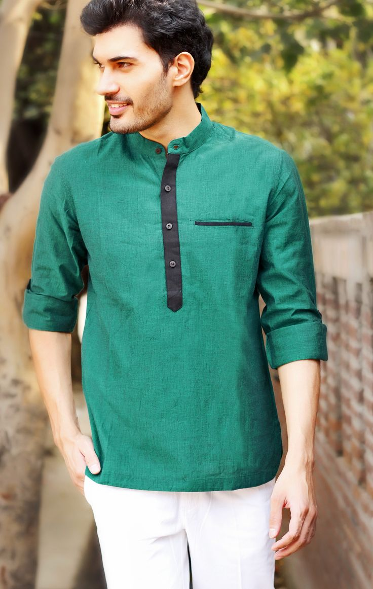 #green #kurta with #blue #accents
