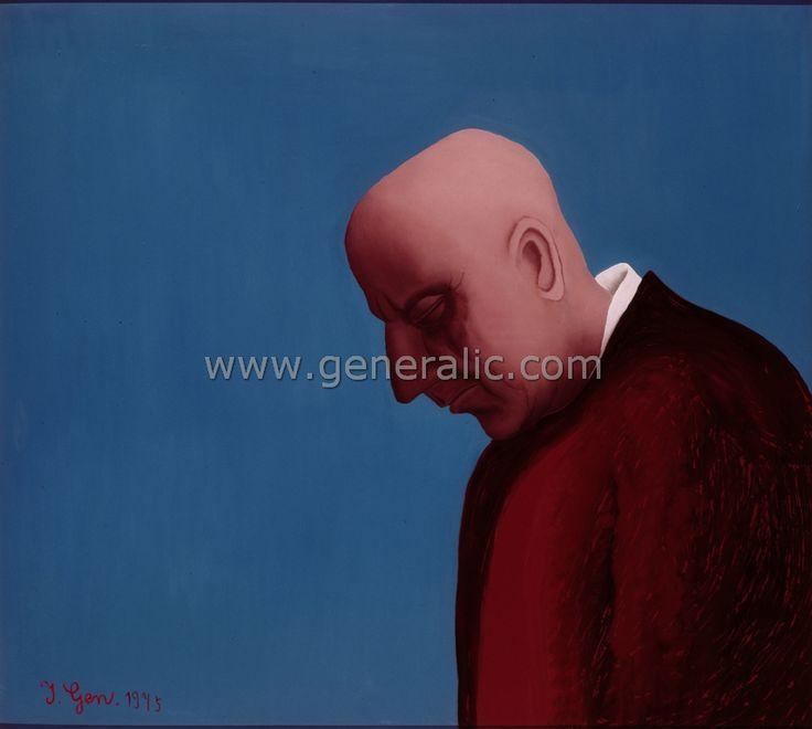 Self portrait, oil on glass, Ivan Generalic
