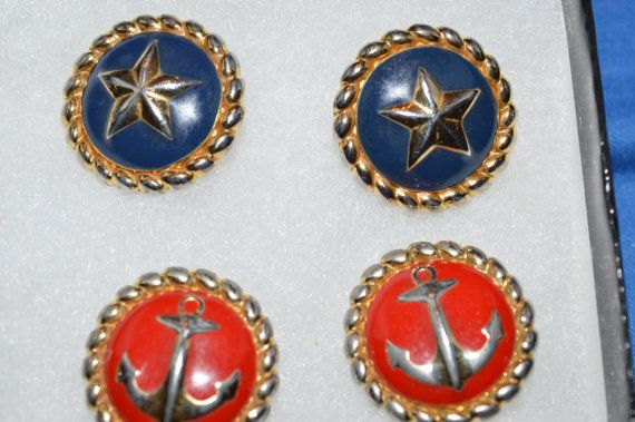 Alfred Sung Signed Nautical EARRINGS 2 pairs Red and Navy