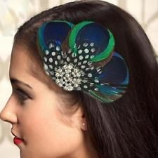 Plume de paon strass mariée mariage pince à cheveux tête en épingle à cheveux multicolore