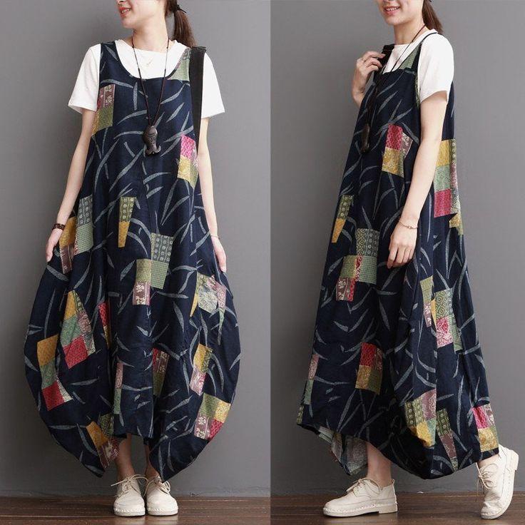 Women Cotton Linen Loose Fitting Summer Sundress