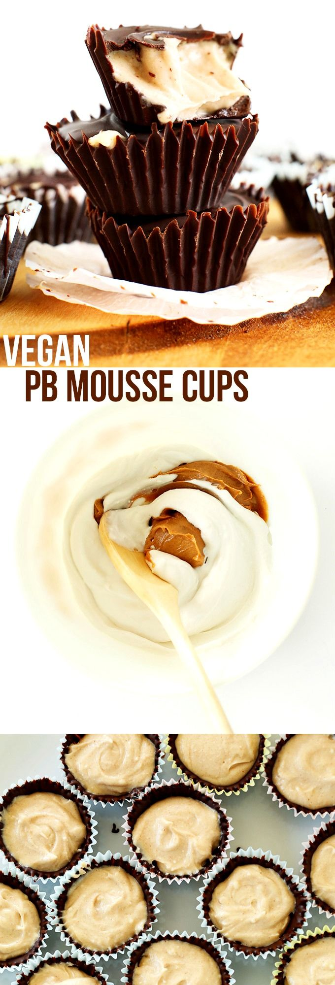 5-Ingredient Vegan Peanut Butter Mousse Cups: crunchy chocolate shell, creamy peanut butter mousse center