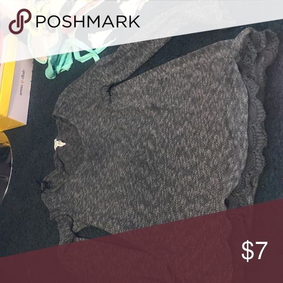 Bethany mota collection Dark gray sweater shirt Bethany mota collection lace at the bottom Aeropostale Tops Tees - Long Sleeve