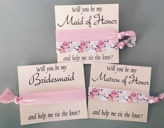 Will you be my bridesmaid hair tie, maid of honor, flower girl, bridal party proposal gift, hair tie