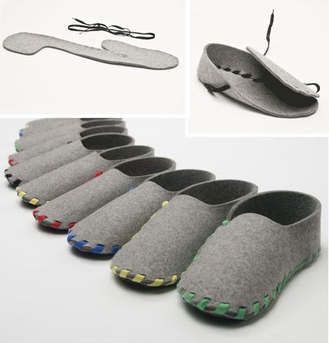Single-Step Slippers Made of One Shoelace & Strip of Felt | Urbanist