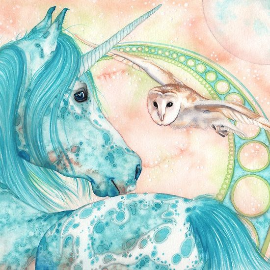 Dooyara, the moonicorn. Watercolor Art by Nadine Thome. Available on RedBubble. Unicorns, Fantasy, Owls