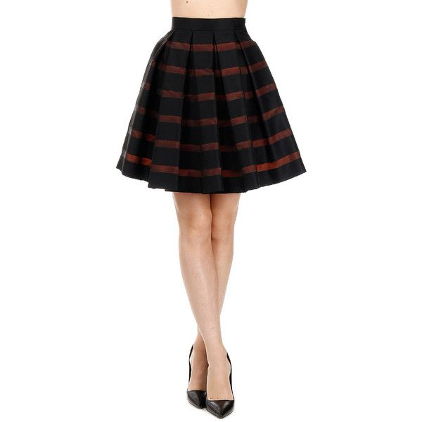 an Italian theory Striped Bubble skirt (2.355 ARS) ❤ liked on Polyvore featuring skirts, black, bubble skirts, stripe skirts, balloon skirt, striped skirt and zipper skirt