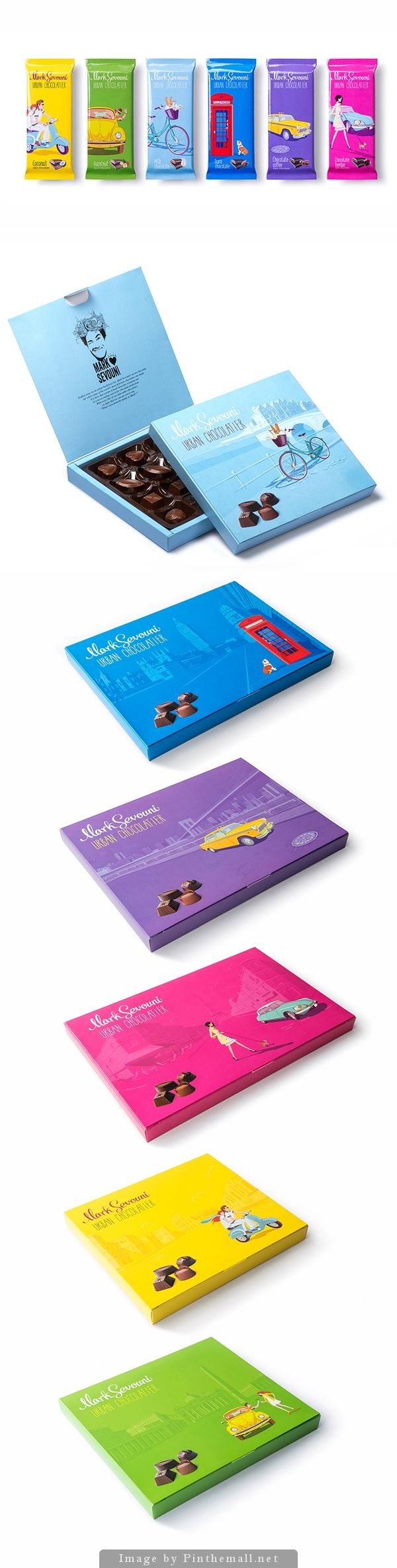 Who wants some colorful Mark Sevouni urban chocolatier #packaging curated by Packaging Diva PD created via https://www.behance.net/gallery/18922555/Mark-Sevouni