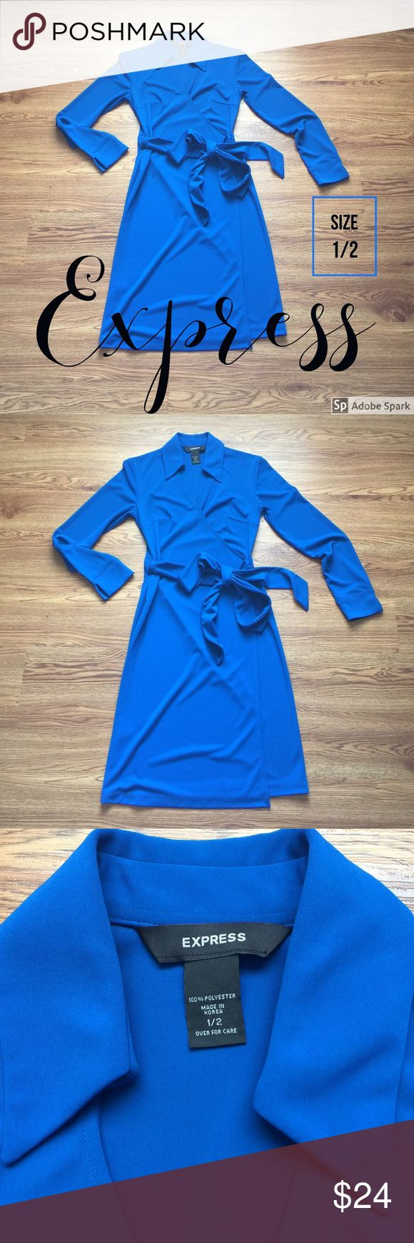 Express Blue Wrap Dress, size 1/2 Express Blue Wrap Dress, size 1/2. This dress is beautiful in a sharp, electric blue. This dress is used but in great condition and is excellent quality. I am happy to answer questions or provide measurements upon request! Express Dresses