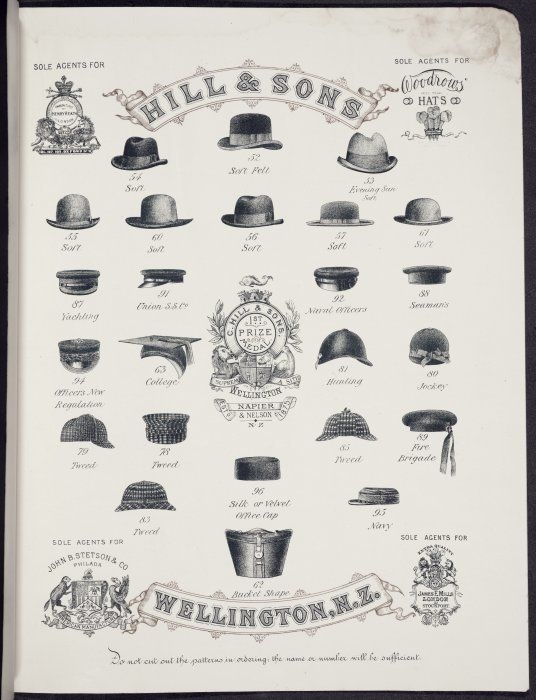 Charles Hill & Sons Ltd :Hill & Sons, sole agents for Henry Heath London; Woodrows Hats; John Stetson & Co Philad[elphi]a; James E Mills London. [Catalogue page [3]. Model numbers 54 to 95. 1897]