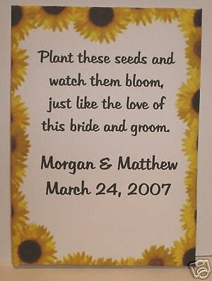 Personalized Sunflower Wedding Seed Packets Favors in Home & Garden, Wedding Supplies, Wedding Favors | eBay