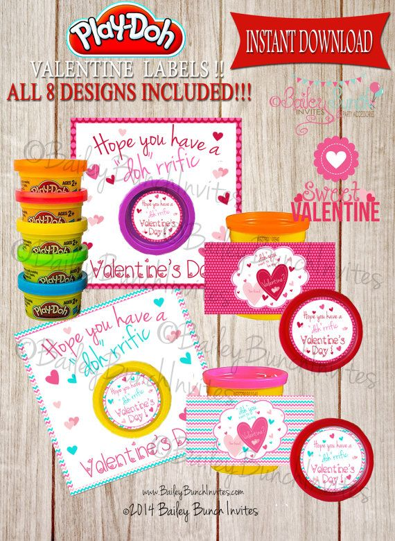 Doh you want to be my Valentine?  Playdoh Valentines!!  www.BaileyBunchInvites.com