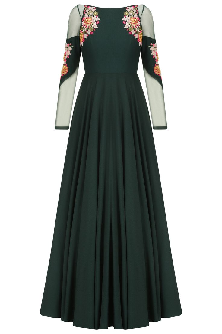 Bottle green acrylic embroidered cold shoulder gown available only at Pernia's Pop Up Shop.