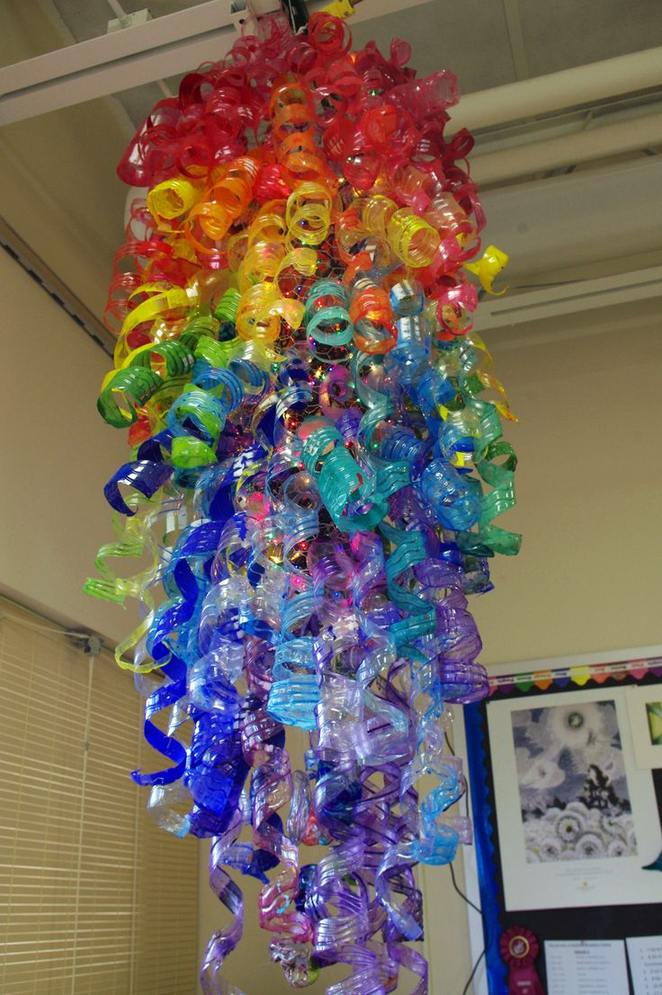 Fantastic and creative! Stimulating vibrancy! Acrylic paint plastic waterbottles sculpture Created by Tonawanda Middle School students inspired by the Glass art of Dale Chihuly