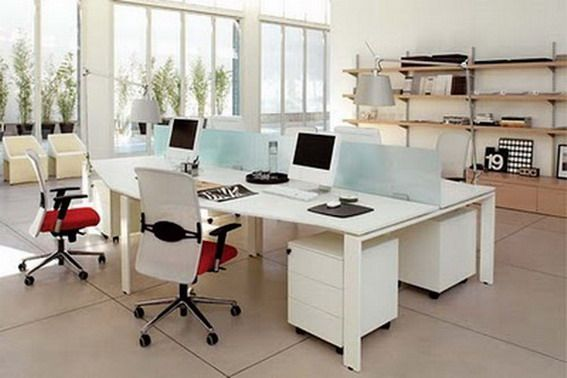 love these simple non cubicle workstations office design