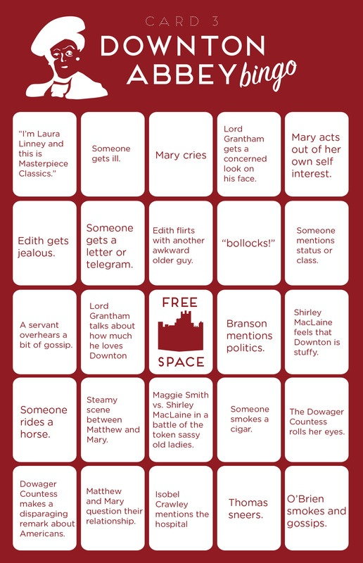 Downton Abbey Bingo (click through for more) hahaha Shanny!