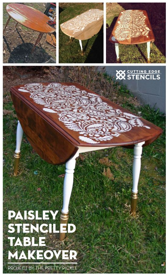 A DIY stenciled table idea using the Paisley Allover Stencil. http://www.cuttingedgestencils.com/paisley-allover-stencil.html #stencils #table #makeover