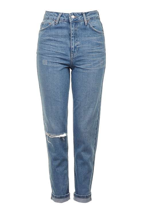 MOTO Blue Ripped Jean. Cute with vintage sneakers and oversized oxford shirt tucked in.