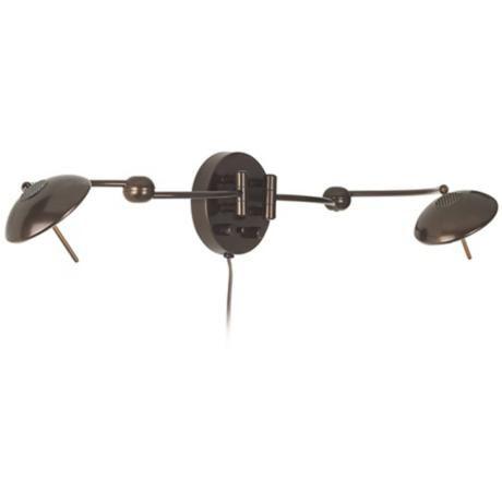 double arm warm bronze plugin swing arm wall light