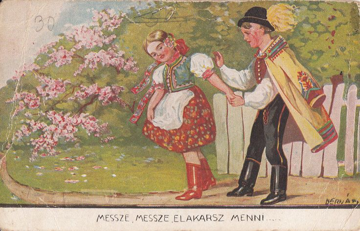 Vintage 1942 Damaged Easter Fantasy Postcard Artist Signed Hungary Folk Costumes | eBay
