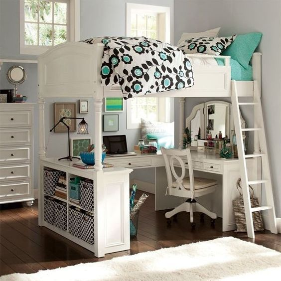 Teen Loft Beds, Loft Bed Desk, Futon Bunk Bed, Bunk Bed With Desk, Bunk Beds  With Stairs, Loft Bedrooms, Pottery Barn Teen, Teenager Girl, Desks