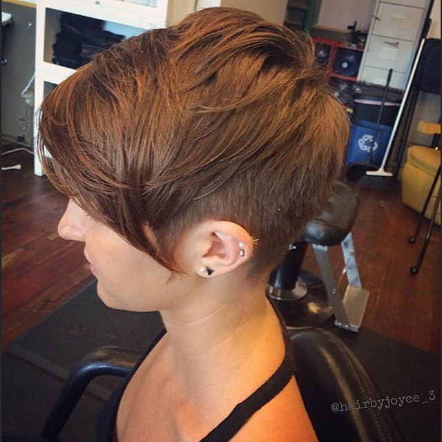 layered short pixie cut with long bangs                                                                                                                                                                                 More