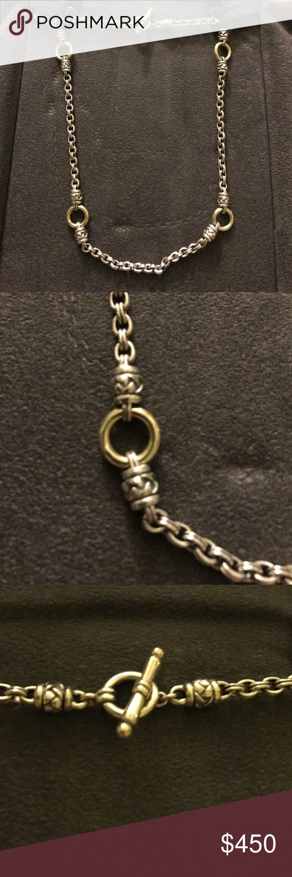 """Scott Kay basket weave 17"""" necklace Scott Kay basket weave necklace. Silver with 18k gold accents and toggle closure. Worn only once in excellent condition! Scott Kay Jewelry Necklaces"""
