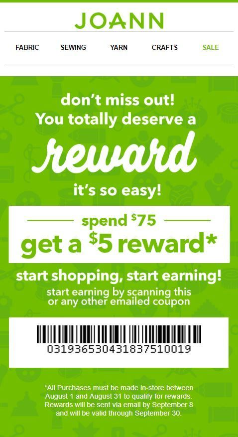 photograph about Home Goods Printable Coupons known as Joann Coupon: $5 Profit with $75 Get Printable