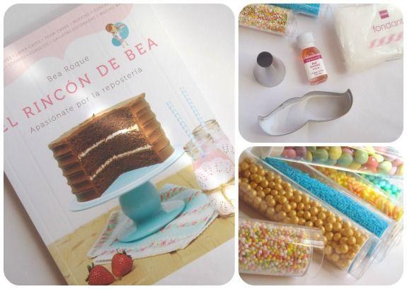 """Mis regalos de cumpleaños. Libro de """"El rincón de Bea"""", cortador de galletas moustache, boquilla 2A de wilton, aroma de regaliz rojo, fondant blanco y diferentes sprinkles."""