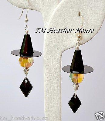 TMHH Halloween Witch Earrings w Swarovski Jet AB Topaz Crystals Sterling | eBay: