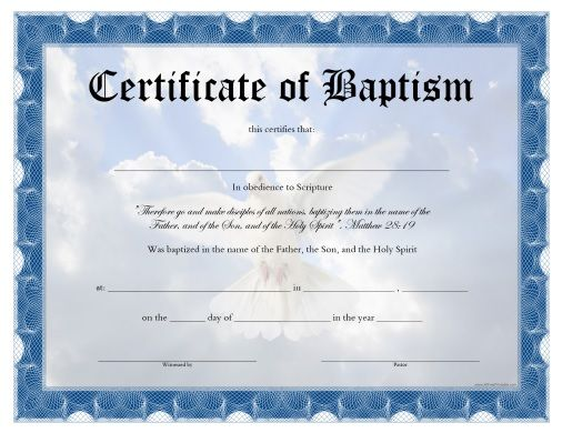 Free printable baptism certificate all free printable pinterest free printable for Catholic baptism certificate template