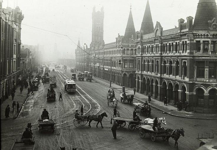 Flinders Street West showing Fish Market, c.1910. SLV