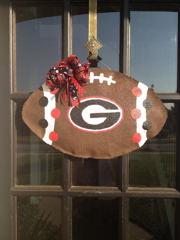 Georgia Bulldog Football Burlap Door Hanger An Idea For My Sons School Instead Of College