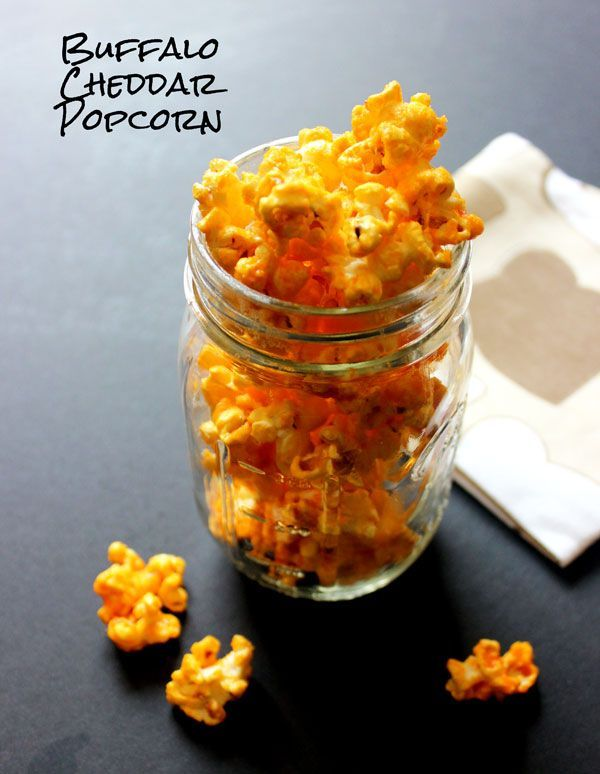 Flavored Popcorn Recipes - buffalo cheddar. Yes, please. Thank you. Don't mind if I do.