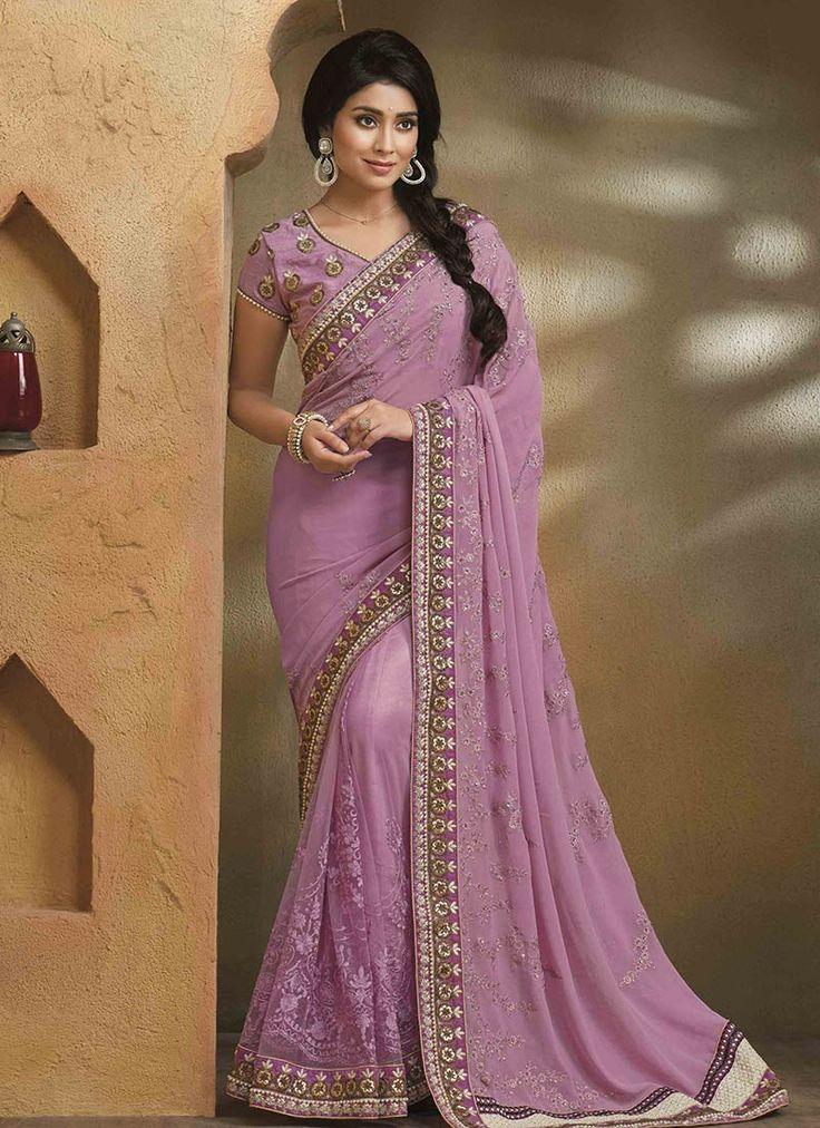 Shriya Mauve Pink Embroidered Saree
