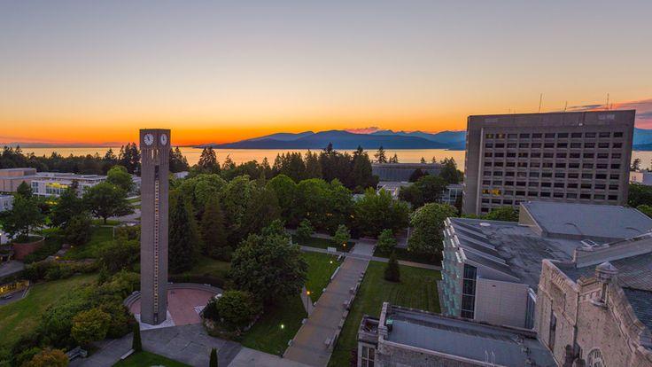 The University of British Columbia campus sits on a bluff above the Georgia Strait. (Hover Collective / UBC) #exploreBCgardens #gardentourism #botanicalgardens