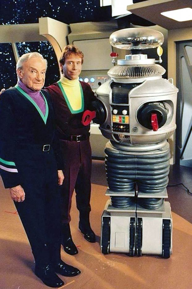 1998 - LOST IN SPACE FOREVER with Jonathan Harris, Bob May & Dick Tufeld (original image color and density adjusted).