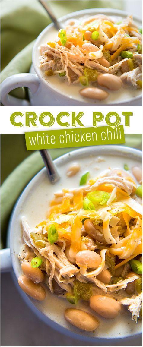 Crock Pot White Chicken Chili Recipe | Slow Cooker White Chili | Green Chiles | Creamy White Chili Soup Recipe | Cheese Chili | Sour Cream Chili