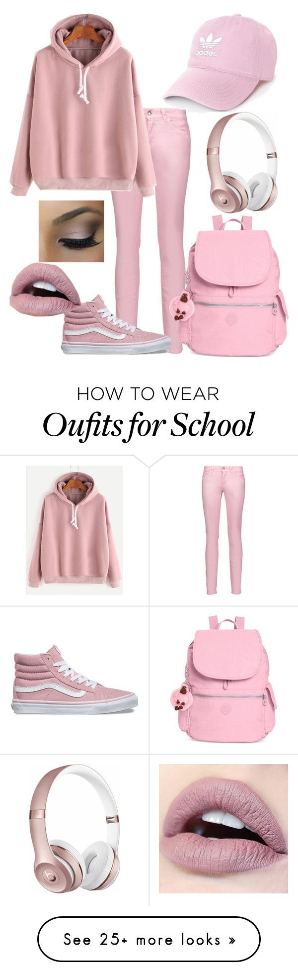 """""""Pink school outfit"""" by levoral on Polyvore featuring Just Cavalli, adidas, WithChic, Vans, Kipling and Beats by Dr. Dre"""