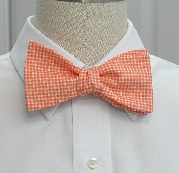 Men's Bow Tie in orange gingham. $27.00, via Etsy.