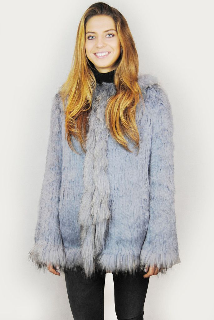 JESSIMARA LIGHT GREY HOODED KNITTED RABBIT FUR JACKET