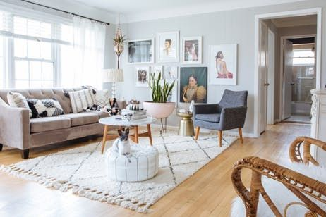 House Tour: A Photographer's Boho Vintage Michigan Mix | Apartment Therapy- bright eclectic living room