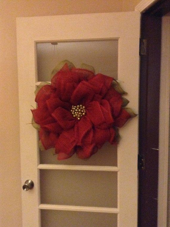 Paper Mesh Poinsettia Wreath