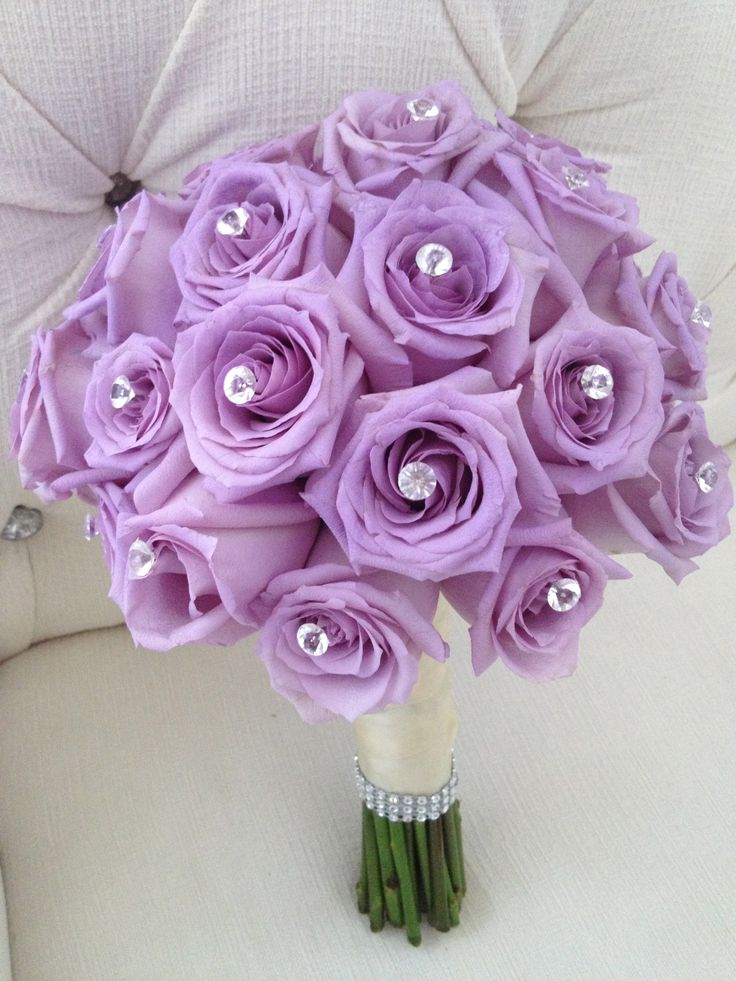 Bridal bouquet of lavender roses with crystal centers