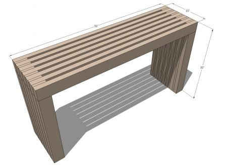 DIY Modern Vertical Slat Top Console - full cut list & furniture plan from Ana White - LOVE this!