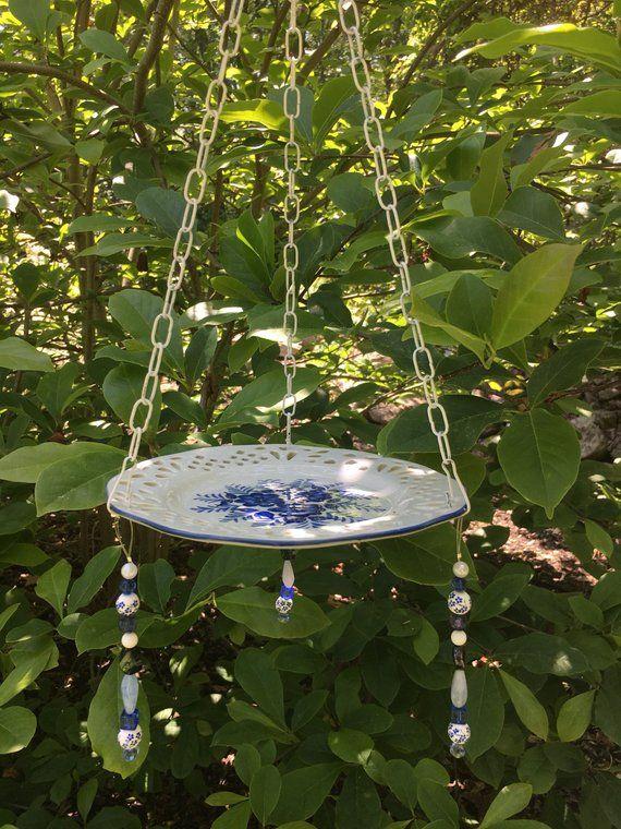 Hanging bird bath - ceramic bird feeder - whimsical garden art
